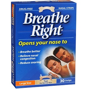 CPAP-Clinic Accessories : # 100181 Breathe Right nasal strips , Tan, Large, 30 Strips