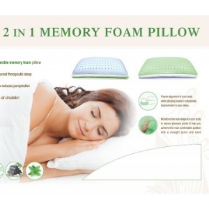 CPAP-Clinic Accessories : # 522392 2 in 1 Memory Foam Pillow Premium Quality Multi-Layered Reversible.