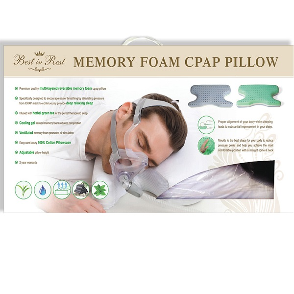 CPAP-Clinic Accessories : # 461241 Best in Rest Memory Foam CPAP Pillow Premium quality multi-layered reversible.-/catalog/accessories/bestinrest/foam-cpap-pillow-08