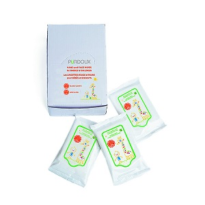 CPAP-Clinic Accessories : # 752243-1 Purdoux Child Hand Wipes (Aloe Vera & Chamomile) Single Travel Pack , 10 Wipes per