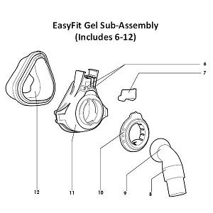 DeVilbiss Replacement Parts : # 97475 EasyFit Gel Sub-Assembly without Headgear and Forehead Support , Medium