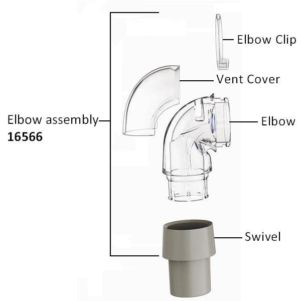 ResMed Replacement Parts : # 16566 Ultra Mirage II Elbow Assembly , including Clip, Vent Cover, Elbow and Swivel-/catalog/nasal_mask/resmed/16566-02