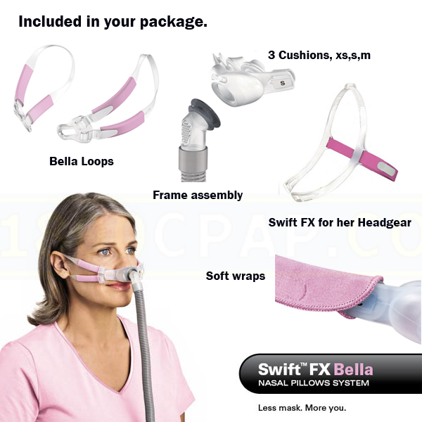 ResMed CPAP Nasal Pillows Mask : # 61560 Swift FX Bella and Swift FX for Her with Headgear , Extra Small, Small, Medium Pillows-/catalog/nasal_pillows/resmed/61560-06